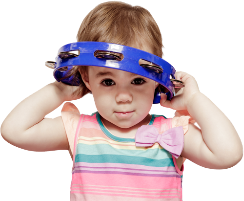 Child with blue tambourine