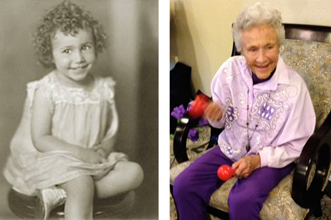 Lola in 1929, and today  (Photos courtesy of Lola Larson)