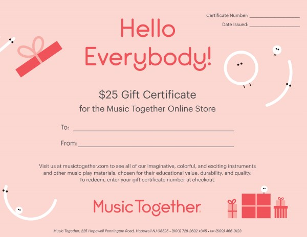 Gift certificates music together store gift certificates negle Images